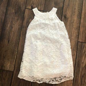 Carter's white lace sleeveless dress w flower